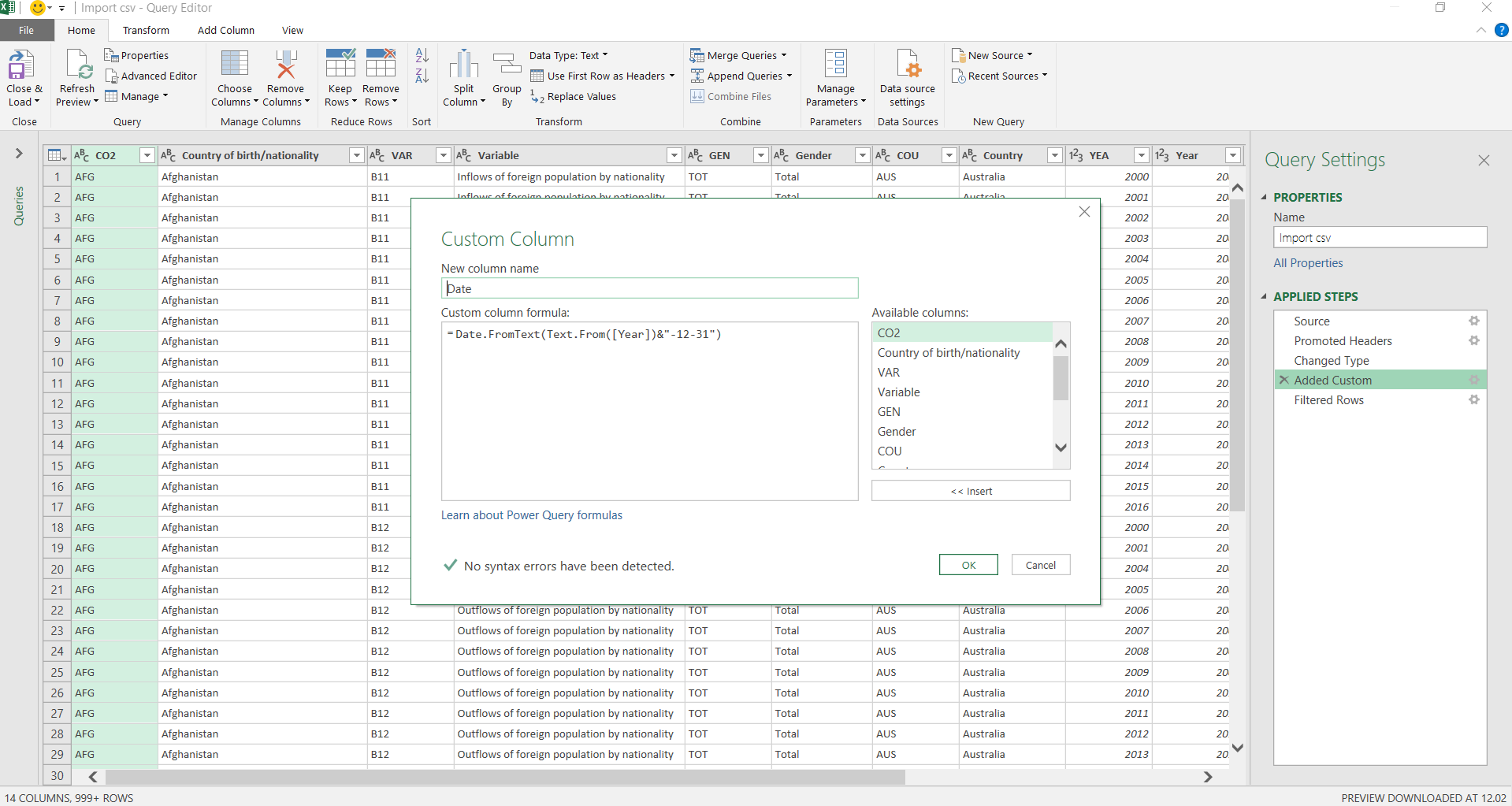 Excel Power Query editor. Added a custom column to convert the year to a date.