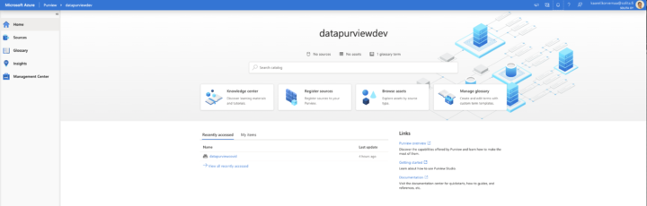 Azure Purview landing page, Knowledge center, Register sources, Browse assets and Manage glossary
