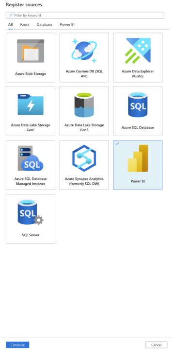 Available source connections: Azure blob storage, Azure Cosmos DB, Azure data explorer, Azure Data lake, Azure Synapse analytics, Power bi